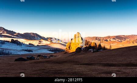 Les roches dans la Suisse, la Mongolie Mongolie