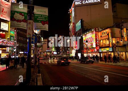 Vue de nuit sur l'incroyable quartier de Shibuya, Tokyo Banque D'Images