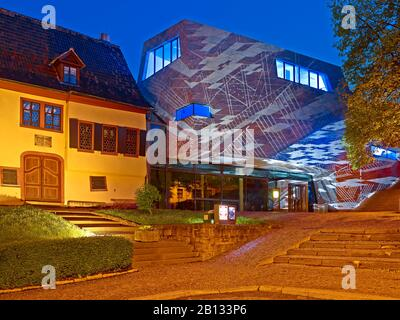 Maison Bach à Eisenach avec installation légère, Thuringe, Allemagne Banque D'Images