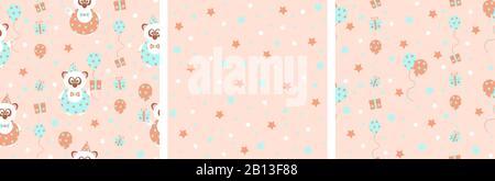ensemble de 3 motifs vectoriels sans coutures avec un joli ours panda de fête avec cadeaux et ballons, dans des tons pastel doux, orange et bleu