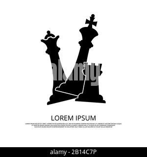 Icône de pièces d'échecs noires - arrière-plan avec échecs. Stratégie de jeu d'esprit, illustration vectorielle Banque D'Images