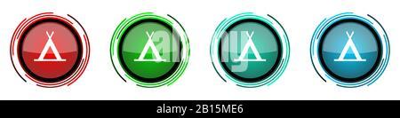 Campez rond brillant icônes vectorielles, ensemble de boutons pour webdesign, Internet et les applications de téléphone mobile dans quatre couleurs options isolées sur le backgrou blanc