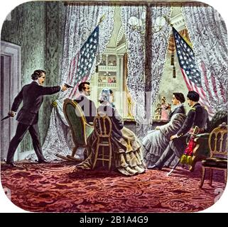 Assassinat du président Abraham Lincoln le 14 avril 1865, imprimé par un artiste inconnu, vers 1900 Banque D'Images
