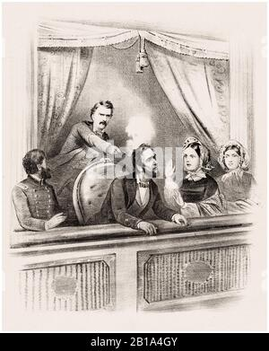 Assassinat du président Abraham Lincoln, 14 avril 1865 au théâtre Ford, imprimé par un artiste inconnu, vers 1865 Banque D'Images
