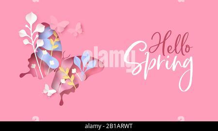 Bonjour Spring carte de vœux illustration de la découpe de forme papillon avec fleur en papier et décoration de nature sur fond rose. Banque D'Images