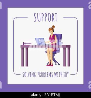 Modèle de conception de bannière de support technique. Jeune femme travaillant sur un ordinateur portable avec casque et microphone vectoriel illustration plate. Support, travail de bureau, conception d'affiches freelance avec typographie.