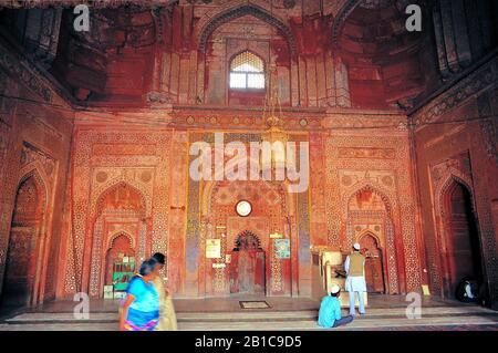 Mosquée À L'Intérieur, Taj Mahal, Agra, Uttar Pradesh, Up, Inde Banque D'Images