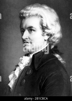 Portrait vintage du compositeur Wolfgang Amadeus Mozart (1756 – 1791). Imprimé vers 1913 par Eugene A Perry. Banque D'Images