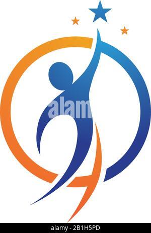 Star success People Care logo et symboles Banque D'Images