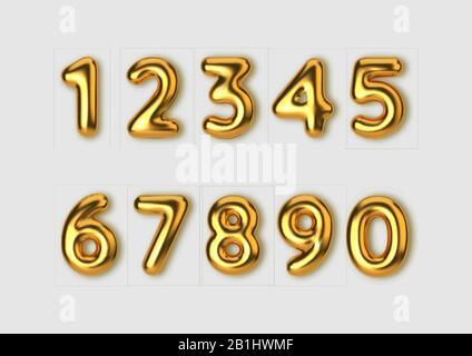 Des chiffres dorés réalistes. Nombre sous forme de ballons dorés. Modèle pour les produits, la publicité, les bannières Web, les dépliants, les certificats et Banque D'Images