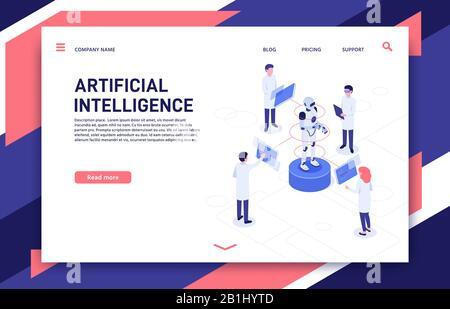 Développement de l'intelligence artificielle. Fabrication Cyborg, robotique future et robot bionique illustration vectorielle isométrique tridimensionnelle Banque D'Images