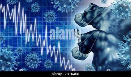 La pandémie économique et l'économie de coronavirus ou L'Épidémie de virus et la peur du marché boursier comme un taureau et porter crise et maladie de la santé financière comme une entreprise. Banque D'Images
