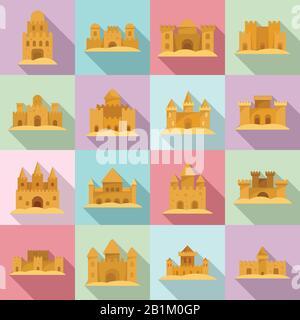 Jeux d'icônes de sable de château. Ensemble plat d'icônes vectorielles de sable de château pour la conception de sites Web Banque D'Images