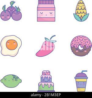 nourriture mignon dessin animé menu de caractère restaurant icônes de régime set illustration vectorielle icône de style plat Banque D'Images