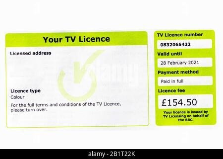 Licence TV couleur Royaume-Uni 2020. Licence de télévision Banque D'Images
