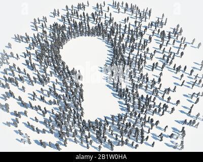 Grand groupe de personnes formant un symbole de trou de serrure - illustration du concept tridimensionnel