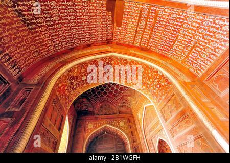 Mosquée À L'Intérieur, Plafond, Taj Mahal, Agra, Uttar Pradesh, En Haut, Inde Banque D'Images