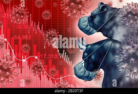 La peur de la pandémie de l'économie mondiale et la peur du coronavirus économique ou l'épidémie de virus et les craintes du marché boursier en tant que crise de taureau et d'ours et financière malade. Banque D'Images