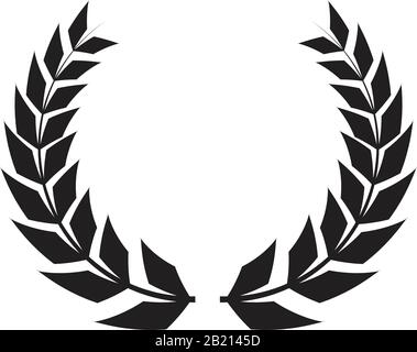 Couronnes grecques et éléments ronds héraldiques avec silhouette circulaire noire. Ensemble de laurier, figue et olive, symboles de victoire avec feuilles et cadres illu Banque D'Images