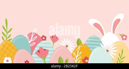 Bonne bannière de Pâques. Carte de vœux, affiche ou bannière avec lapin, fleurs et oeuf de Pâques. Affiche de chasse aux œufs. Fond du ressort Banque D'Images