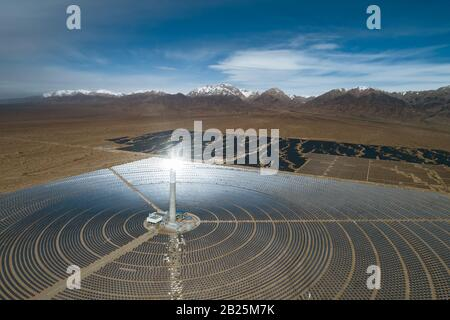 Vue aérienne de la centrale thermique solaire Banque D'Images