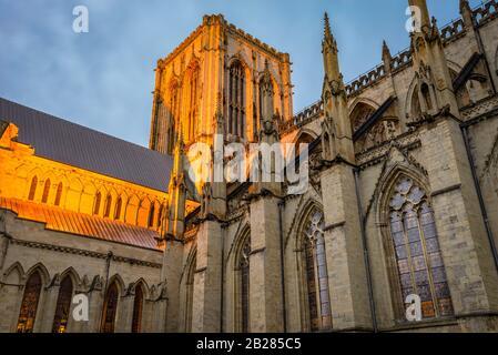 Une section éclairée de York Minster avec son architecture gothique médiévale et sa tour centrale à l'aube. Les vitraux sont allumés.