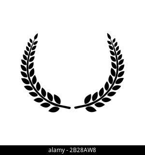 Icône vectorielle foliaire laurier circulaire Banque D'Images