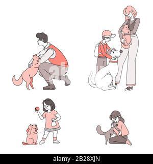 Des gens heureux avec des animaux domestiques vecteur illustration de dessin animé. Les gens, les femmes, les hommes et les enfants qui prennent soin et jouent avec les animaux de compagnie, les chiens et les chats présentent un concept. Amitié, émotions positives.
