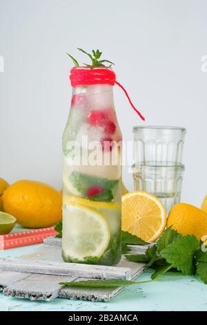 Boisson rafraîchissante de l'été avec de la limonade citron, canneberge, feuilles de menthe, la chaux dans une bouteille en verre, à côté les ingrédients pour faire un cocktail.