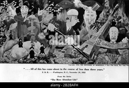 """New Deal: Dessin animé par """"Les défenseurs de la démocratie"""" à New York montrant une photo de la série """"La vie abondante"""" intitulée: """"Tout cela est arrivé au cours de moins de trois ans"""". Banque D'Images"""