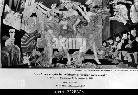 """New Deal: Dessin animé par """"Les défenseurs de la démocratie"""" à New York montrant une image de la série """"La vie abondante"""" intitulée: """"Un nouveau chapitre dans l'histoire du gouvernement populaire"""". Banque D'Images"""