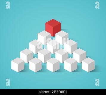 Cube rouge sur le dessus suivi de beaucoup plus petits cubes blancs dans une formation de pyramide. Image conceptuelle du leadership et se démarquer de la foule. Conception plate. Banque D'Images