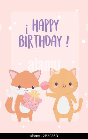 joyeux anniversaire renard tigre avec cadeau et bonbons célébration décoration carte illustration vectorielle