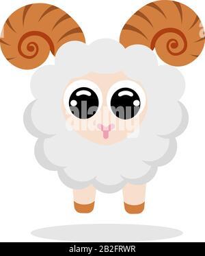 mouton en image vectorielle de style plat. Personnage de dessin animé. Illustration du brut vectoriel plat sur fond blanc Banque D'Images