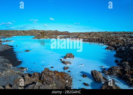 Grindavik, Islande, vue sur la célèbre zone géothermique de Blue Lagoon
