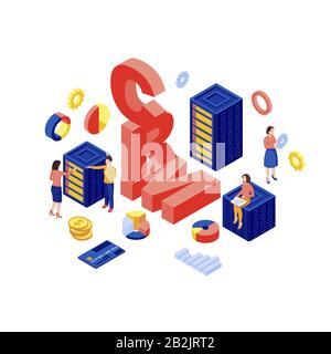 Illustration vectorielle isométrique de la base de données CRM. Stockage de données client, logiciel d'automatisation marketing concept tridimensionnel isolé sur fond blanc. Commerce Électronique
