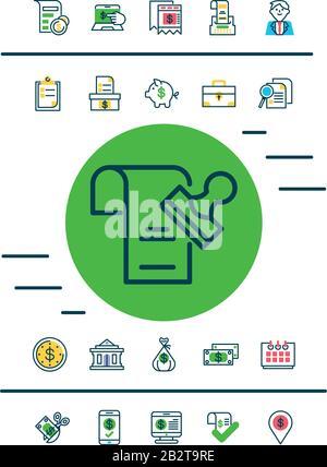 Les icônes de document et d'estampillage et de jour de taxe sont définies sur un fond blanc, un style demi-couleur, une illustration vectorielle Banque D'Images