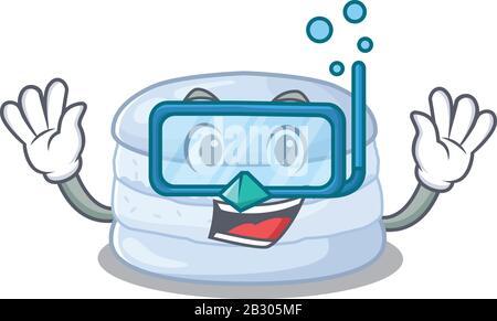 Personnage de dessin animé de macaron aux bleuets portant des lunettes de plongée Banque D'Images