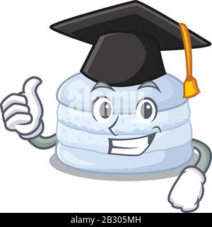 Heureux et fier de macaron bleuet portant un chapeau de graduation noir Banque D'Images