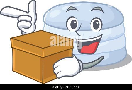 Mignon macaron de bleuets personnage de dessin animé ayant une boîte Banque D'Images