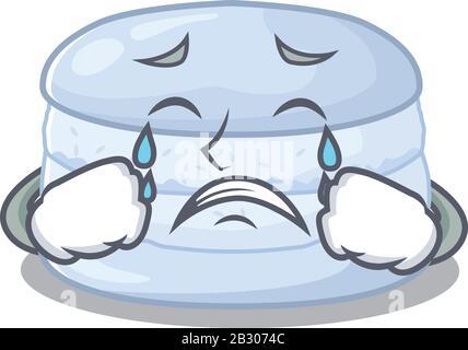Concept de personnage de dessin animé de macaron aux bleuets avec un visage triste Banque D'Images