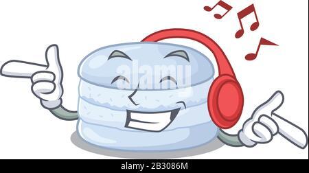 Ecouter la musique bleuet macaron dessin animé concept de personnage Banque D'Images
