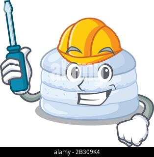 dessin animé style de personnage bleuet macaron travaillant comme une automobile Banque D'Images
