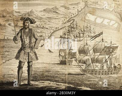 Histoire générale des Pyrates - Capitaine Bartholomew Roberts avec deux navires (Alt). Banque D'Images