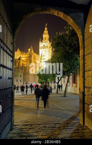 Espagne, Andalousie, Séville, quartier Santa Cruz, le minaret Giralda, chef-d'œuvre de l'architecture Almohad et la cathédrale classée au patrimoine mondial par l'UNESCO, vue depuis le patio de Banderas Banque D'Images