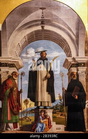 Italie Lombardie Milan Brera Art Gallery - Giovanni Battista Cima - Saint Pierre Martyr Et Saints Nicolas Et Benoît - Cima 15ème Siècle Banque D'Images