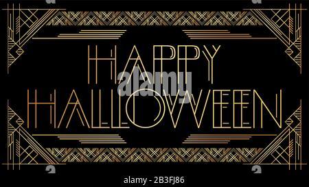 Art Déco Texte D'Halloween Heureux. Carte de vœux décorative dorée, signe avec des lettres anciennes. Banque D'Images