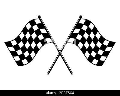 Drapeaux à damier. Drapeau de course noir et blanc. Terminer ou démarrer l'icône de drapeau croisé déchiré. Symbole Motorsport ou Auto Racing sur fond blanc. Circuit final Banque D'Images