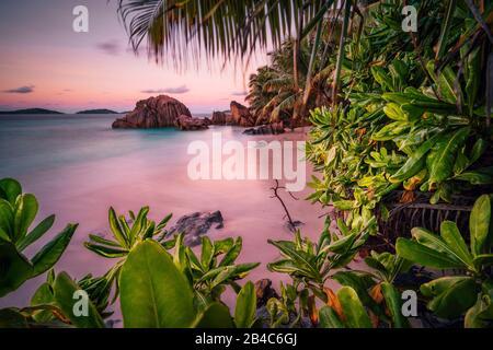 Magnifique coucher de soleil romantique coucher de soleil ciel rouge sur l'île des Seychelles paradis. Rochers de granit, palmiers et plage de sable blanc.