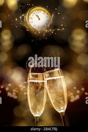 Deux verres à champagne et horloge à la Saint-Sylvestre 2020